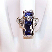 ART DECO 14K Gold, Diamond & Synthetic Sapphire Ring by Belais!