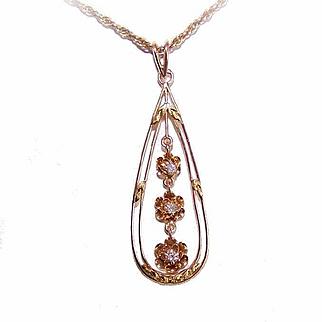 ANTIQUE EDWARDIAN 14K Gold & Diamond Lavaliere Pendant!