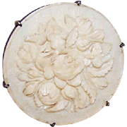 Unique LATE VICTORIAN Silver Button with Carved Floral Panel!