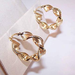 """Fabulous ESTATE Italian 14K Gold """"Twisted Hoop"""" Earrings!"""