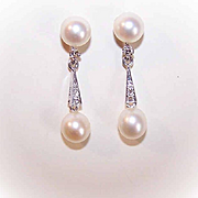 Vintage 14K Gold, Diamond & Cultured Pearl Drop Earrings!