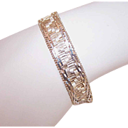 "Vintage Italian STERLING SILVER ""Chevron"" Chain Bracelet by Milor!"