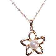 Vintage 14K Gold & Cultured Pearl Pendant - Star/Floral Design!