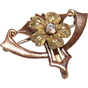 ART NOUVEAU Gold Filled & Rhinestone Floral Watch Pin!