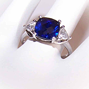 Vintage STERLING SILVER & 3CT TW Blue Rhinestone/Cubic Zirconia Fashion Ring!