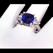 Vintage STERLING SILVER & 3CT TW Blue Rhinestone/Cubic Zirconia Fashion Ring!