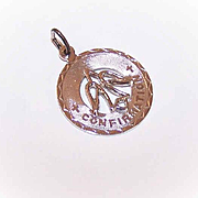 Vintage STERLING SILVER Disc Charm - Confirmation Medal/Dove of Peace!