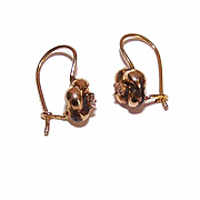 ANTIQUE EDWARDIAN 14K Gold & Diamond Shepherd Hook Earrings!