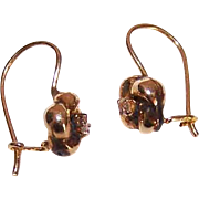 ANTIQUE EDWARDIAN 14K Gold & Diamond Shepherd Hook Earrings!