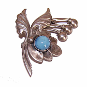 Retro Modern STERLING SILVER Lily of the Valley Pin with Blue Glass Cab!