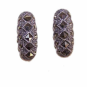 Vintage STERLING SILVER & Marcasite Earrings - Pierced/Studs!