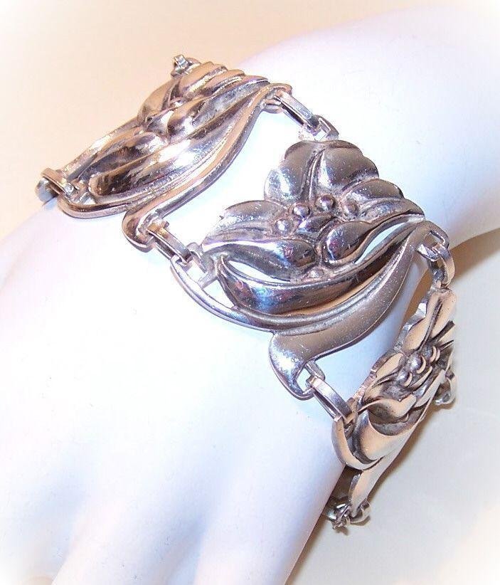 Stunning 1950s STERLING SILVER  Floral Link Bracelet by Vikingcraft!