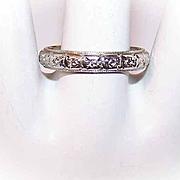 ART DECO 18K White Gold Wedding Band/Wedding Ring - Size 9 - 4.4 Grams!