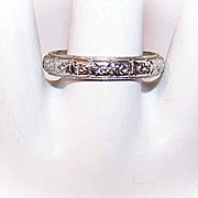 ART DECO 18K White Gold Wedding Band/Wedding Ring - Size 9 - 4.4 Grams!