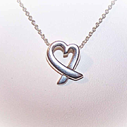 Vintage STERLING SILVER Pendant Necklace - Ribbon Heart with Chain!