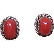 Native American STERLING SILVER & Red Coral Pierced Earrings/Studs!