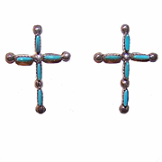 Native American STERLING SILVER & Turquoise Earrings - Crosses!