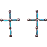 Native American STERLING SILVER & Turquoise Earrings - Crosses!