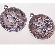 Pair of Coin Drops Featuring QUEEN VICTORIA/St. George & the Dragon  (Dated 1913)