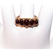 Dated 1971 English 9K Gold & Garnet Victorian Revival Ring!