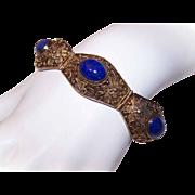 Vintage CHINA SILVER Vermel & Lapis Lazuli Link Bracelet!