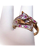 Vintage STERLING SILVER Vermeil & Synthetic Ruby Fashion Ring - Panther!