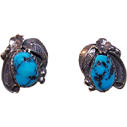Vintage STERLING SILVER & Turquoise Nugget Native American Earrings!
