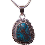 Vintage STERLING SILVER & Natural Turquoise Pendant by R. Ocampo!