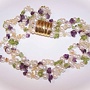 Vintage Freshwater Pearl, Amethyst & Peridot Bead 3-Strand Necklace!