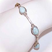 Vintage STERLING SILVER & Turquoise/Larimar Link Bracelet!