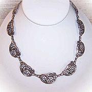 "Vintage DANECRAFT Sterling Silver ""Floral"" Link Necklace!"