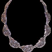 """Vintage DANECRAFT Sterling Silver """"Floral"""" Link Necklace!"""