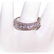 Sweet STERLING SILVER Wedding Band with Princess-Cut Cubic Zirconia/CZ!