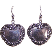 Vintage STERLING SILVER Pierced Earrings - Edwardian Revival Heart Drops!