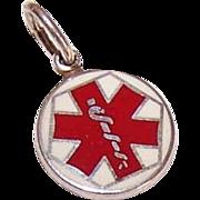 "Vintage STERLING SILVER & Enamel ""Medic Alert"" Charm!"