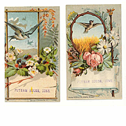 2 VICTORIAN Trade Cards - Birds with Florals - Putnam House, Conn!