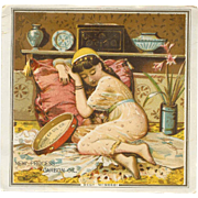 VICTORIAN Trade Card for New Process Carbon Oil - Gypsy Girl on Cushions!