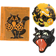 Vintage DENNISONs Halloween Seal Box with 2 Loose Seals - Black Cat, Deco Witch!