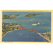 Unused C.1950 TWA/Trans World Airlines Post Card - Sky Sleeper Over San Francisco Bay!