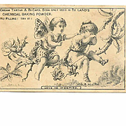 VICTORIAN Trade Card for De Land's Chemical Baking Powder - Fairy with Weeping Girl!
