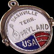 Vintage STERLING SILVER & Enamel Spinner Charm - Opryland, Nashville, Tenn!