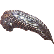 Vintage STERLING SILVER Curved Feather Pin/Brooch!