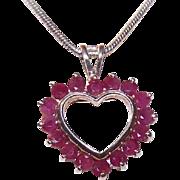 Vintage STERLING SILVER & Ruby Heart Pendant!