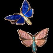 Pair STERLING SILVER & Enamel Butterfly Pins by Einer Modahl, Norway!