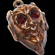 ANTIQUE EDWARDIAN 14K Gold & Garnet Charm/Pendant - A Red Devil!