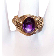 ART NOUVEAU 14K Gold & Amethyst Ring - Mermaids on Both Sides!