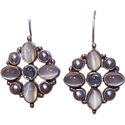 Vintage STERLING SILVER, Moonstone & Freshwater Pearl Earrings!