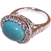 Vintage STERLING SILVER, Faux Turquoise & Cubic Zirconia Fashion Ring by ESPO!