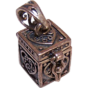 Vintage STERLING SILVER Charm - Small Treasure Box That Opens/Closes!