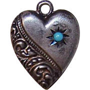 Vintage STERLING SILVER Puffy Heart Charm - Curlicue with Turquoise Bead; Engraved OJ!